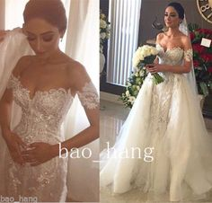 Detachable Train Wedding Dress Lace Beaded Off Shoulder Sleeves Bridal Ball Gown