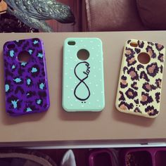 hand painted phone cases DIY. craft acrilycs finished with a clear coat spray