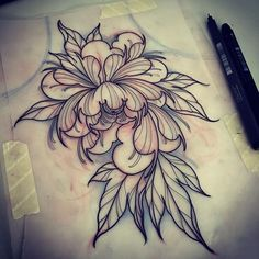 WEBSTA @ lucasferreiratattoo - Peony!! Starting a cover up #sketching #drawing…