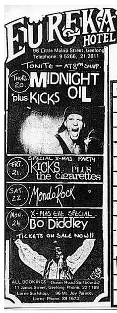 Midnight Oil: MIDNIGHT OIL - 20 Dec 1979 - Eureka Hotel, Geelong... Music Posters, Flyers, Fandoms, Oil, Band, My Favorite Things, Paper, Ruffles, Sash