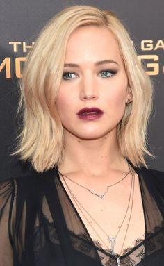 Alluring Modern Blunt Bob with Side Part and Candy Apple Red Lipstick / Jennifer Lawrence