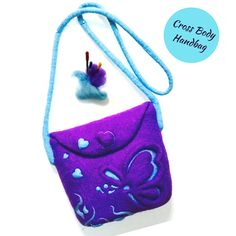 Cross Body Purple Handbag 3D Layered Needle Felted Purse.