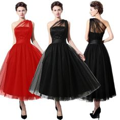 Plus Size Black One Shoulder Tea-length Cocktail Prom Dresses Party Homecoming 6 | Clothing, Shoes & Accessories, Women's Clothing, Dresses | eBay!