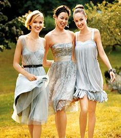 Thinking about having the bridesmaids wear vintage like knee length mix/matched light blue dresses.