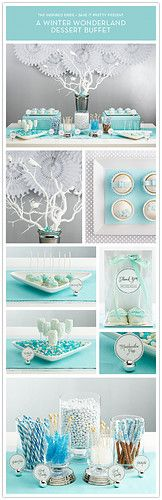 Winter Wonderland dessert buffet.  White and tiffany blue.  Pretty and fun!
