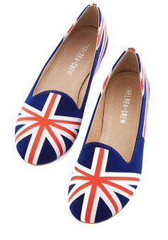 Liverpool Party Flat. Take a bit of the UK with you wherever you go in these printed ballet flats from Chelsea Crew! #multi #modcloth