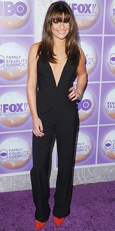 Last Night's Look: Love It or Leave It? | LEA MICHELE | in a plunging black jumpsuit, single-sole ruby Barbara Bui pumps and heavy bangs at the Family Equality Council's awards dinner in Beverly Hills.