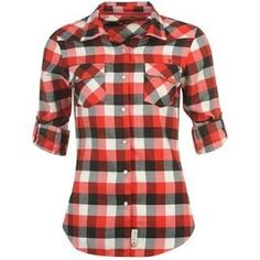 Lee Cooper Flannel Shirt Ladies Red/Black/White 12... ($9.21) ❤ liked on Polyvore featuring tops, shirts, black and white striped shirt, women tops, red top, black white top and shirts & tops