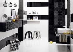 Black & white is always a good idea. Glazed ceramic tiles Opp! 90x30 cm with Black Diamond decoration.