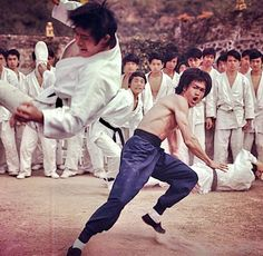 Bruce Lee throwing a man across the rain in the movie Enter the Dragon. Bruce Lee Art, Bruce Lee Martial Arts, Brandon Lee, Martial Arts Movies, Martial Artists, Bob Marley, Bruce Lee Pictures, Hong Kong, Movie Shots