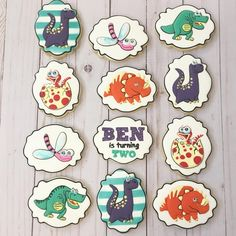 """Sugar Shimmer (@sugarshimmer) on Instagram: """"Dinosaur sugar cookies to match the invite for 2 year old BEN ... #sugarshimmercookies#buzzfeedfood…"""""""