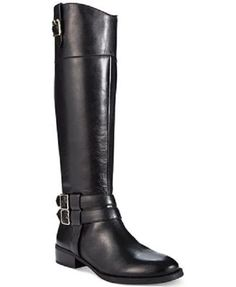219bf2beed55c8 INC International Concepts Fahnee Riding Boots Size 9.5 Wide Calf Black  Leather Leather Riding Boots