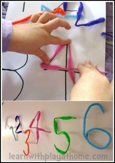 Pipe Cleaner Numbers or letters . Fine motor skills, manipulation, number formation, ordering and more. Playful Maths from Learn with Play at home Play Based Learning, Preschool Learning, Kindergarten Math, Early Learning, Teaching Math, Fun Learning, Preschool Activities, Teaching Numbers, Numbers Preschool
