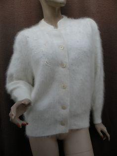 Vintage Super Fuzzy Angora Pearled Embellished Korea Made Cardigan   eBay