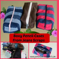 Creating my way to Success: Boxy Denim Pencil Cases a tutorial - another clothes upcycle