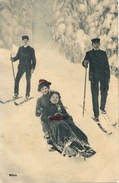 1907 Neat Old Norway Norwegian Sledders Skiers Tinted Snowy Postcard | eBay