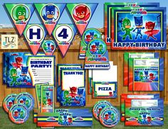 PJ Masks Birthday Package Printable Digital Instant by TLZDesigns Superhero Birthday Party, 6th Birthday Parties, Birthday Bash, Birthday Ideas, Pjmask Party, Party Ideas, Party Time, Festa Pj Masks, Birthday Packages