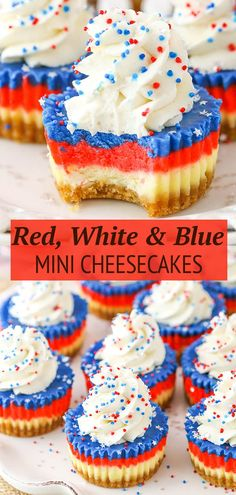 These Red, White and Blue Mini Cheesecakes are smooth, creamy and easy to make! Perfect for your patriotic celebration! Köstliche Desserts, Holiday Desserts, Holiday Recipes, Delicious Desserts, Dessert Recipes, Easy To Make Desserts, Health Desserts, Mini Cheesecakes, Baking Recipes