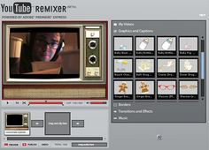 YouTube Remixer lets you add effects and graphics, text and audio, overlays and transitions to your YoutTube Video, directly in your browser. #videoediting #video