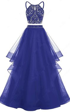 Royal Blue Princess Scoop Neck Tulle Floor Length Beading Two Piece  Backless Long Prom Dress