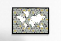 Instant download Print Blue Grey geometric World por LehaimDesign