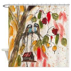 Love Birds Modern Shower Curtain on CafePress.com