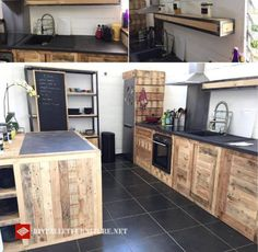 Ideas Make Your Kitchen Awesome With Pallet - The Urban Interior Crate Furniture, Kitchen Furniture, Kitchen Decor, Furniture Nyc, Repurposed Furniture, Cheap Furniture, Rustic Furniture, Furniture Ideas, Grey Kitchen Island