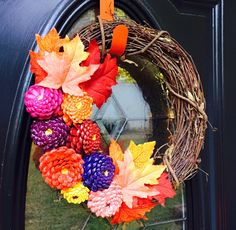 Fall Zinnia Pinecone Wreath, Fall Pinecone Grapevine Wreath, Autumn Front Door Decor, Thanksgiving Decor, Door Hanger, Fall Wall Art by SouthernEscentuals on Etsy https://www.etsy.com/listing/474149390/fall-zinnia-pinecone-wreath-fall