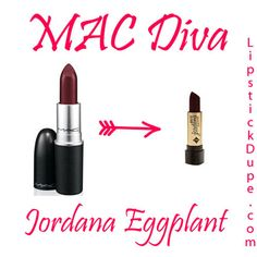 MAC Diva / Jordana Eggplant | MAC Lipstick Dupes We Can't Live Without, check it out at http://makeuptutorials.com/mac-lipstick-dupes-makeup-tutorials