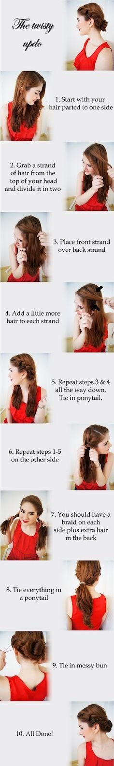 Twisty up do, cute and easy!