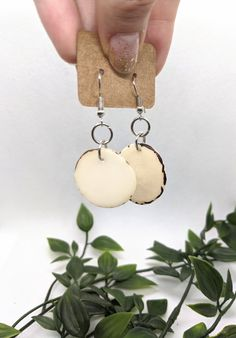 White disc earrings. Cute small and lightweight earrings. | Etsy