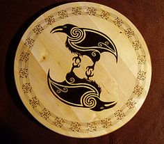 Two Raven lazy susan (Herne's Craftes) Tags: wood celtic raven norse hugin munin pyrography
