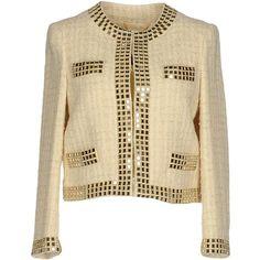 Moschino Blazer (3.705 RON) ❤ liked on Polyvore featuring outerwear, jackets, blazers, beige, brown jacket, beige jacket, long sleeve jacket, brown blazer and beige blazer