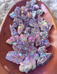 "cosmicdreamclub: "" Rainbow Aura Amethysts! ✨ Packs of 3/6/9 ~ aurafy.storenvy.com """