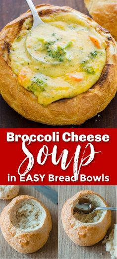 How to make Broccoli Cheese Soup - our copycat version of Panera's famous Broccoli Cheese Soup. You have to try making the bread bowls - they are so easy and such a treat! This Broccoli and Cheese Soup is sure to become a new favorite!
