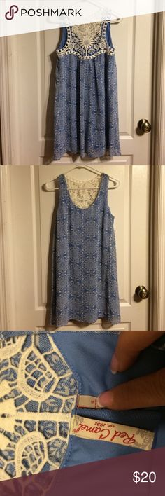 🆕listing-Cute dress 🆕listing-Cute dress. Blue/White with lace cut out back. Super fun and easy weekend dress. Fully lined. #833 Red Camel Dresses Mini