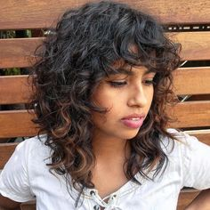 Medium Shaggy Cut for Natural Curly Hair hair fringe 70 Best Variations of a Medium Shag Haircut for Your Distinctive Style Curly Hair Styles, Curly Hair With Bangs, Haircuts For Curly Hair, Shag Hairstyles, Curly Hair Cuts, Medium Hair Cuts, Short Curly Hair, Medium Hair Styles, Natural Hair Styles