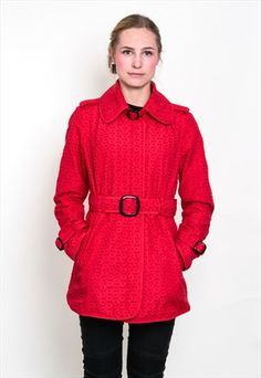 GREEN WITH ENVY WOMENS L VINTAGE JACKET RED BELT LACE