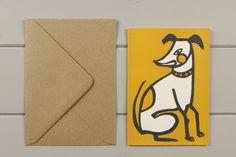 Dog linocut greetings card by WorkOnPaperStudio on Etsy, £2.95