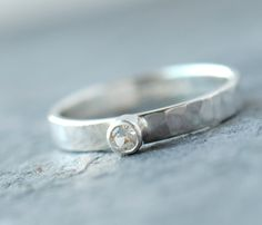 Genuine White Sapphire Hammered Sterling Ring.