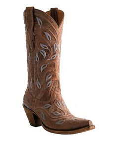 Look what I found on #zulily! Tan Vine & Leaves Leather Cowboy Boot - Women by Lucchese #zulilyfinds