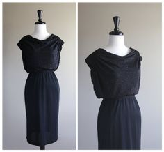 Gorgeous Vintage 1970s Black Shimmer Evening Dress / 1980s / Glam Bohemian Goth Disco / 1940s Pinup Rockabilly
