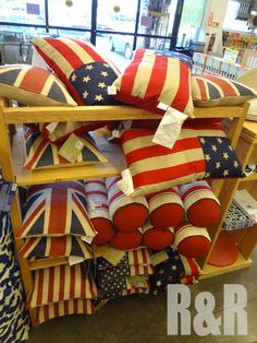 Awesome Americana and Union Jack pillows from @Cost Plus World Market. Check out the cool Red, White, and Blue decor