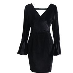 Lztlylzt Women Sexy Pleuche Horn Sleeve Backless Mini Dress ($20) ❤ liked on Polyvore featuring dresses, cocktail party dress, cocktail dresses, short sleeve dress, long sleeve dress and holiday party dresses