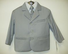 This Little Light Grey Suit  comes with 5 pieces striped shirt jacket pant vest and tie. Very Cute!