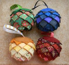 Set of 4 Fabric Christmas Balls, perfect Christmas present, Quilted ornament