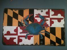 Chesapeake Bay Blue Crab and Maryland State Flag. Painted slate shingle