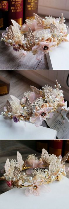 Sweet Preserved Fresh Flower Bridal Crown with Shell and Pearl EWAHP056