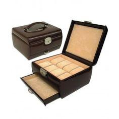 """Cutie 8 ceasuri cu sertar, din piele - un cadou """"2 in1"""": si cutie de ceasuri si caseta de bijuterii pt. EL"""