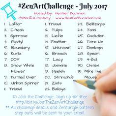 Come Zentangle with us in the July #ZenArtChallenge